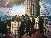 Admiral Togo on the bridge of the Mikasa, before the Battle of Tsushima in 1905, with the Z flag flying