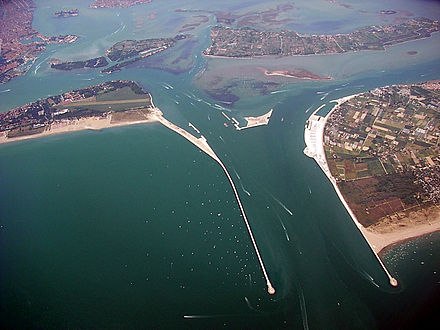MOSE Project north of Lido di Venezia MOSE Project Venice from the air.jpg