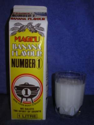 South African cuisine - Mageu is a traditional South African non-alcoholic drink, popular among many of the Nguni people, made from fermented mealie pap. Home production is still widely practised, but the drink is also available at many supermarkets.