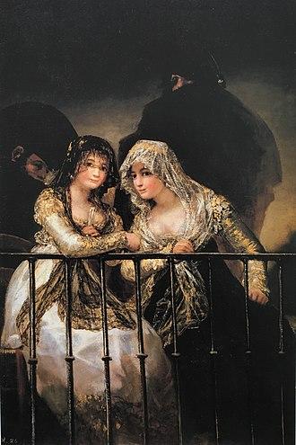 The Balcony (painting) - Image: Majas en un balcón por Goya (colección particular)