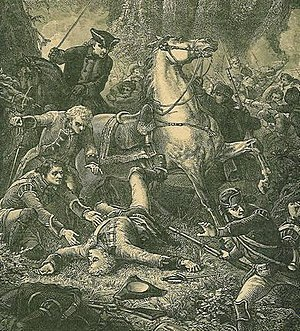 History of the US Army National Guard - Death of Braddock at Battle of the Monongahela. 19th-century engraving.