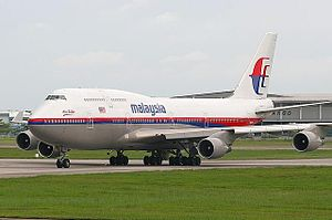 Penang International Airport - Malaysia Airlines Boeing 747-400 arriving at Penang International Airport