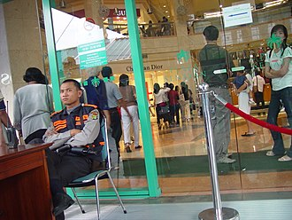 Security - Security checkpoint at the entrance to a shopping mall in Jakarta, Indonesia