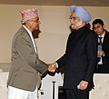 Manmohan Singh in a bilateral meeting with the Chairman of the Council of Ministers of Nepal, Mr. Khil Raj Regmi, on the sidelines of the 68th Session of the United Nations General Assembly, in New York on September 28, 2013.jpg