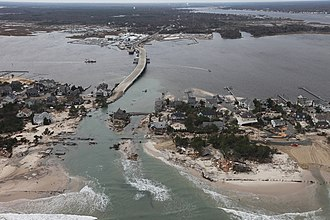 Mantoloking, New Jersey - Breach of the barrier island in Mantoloking after Hurricane Sandy