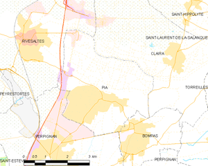 Pia, Pyrénées-Orientales - Map of Pia and its surrounding communes