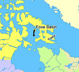 Foxe Basin - Image: Map indicating Foxe Basin, Nunavut, Canada