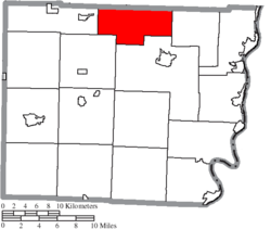 Location of Wheeling Township in Belmont County