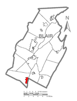 Claysburg (depicted in red) in Blair County