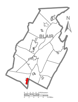 Map of Claysburg, Blair County, Pennsylvania Highlighted.png