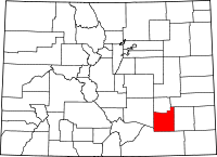 Map of Colorado highlighting Otero County