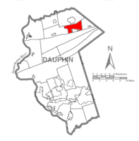 Map of Dauphin County, Pennsylvania highlighting Wiconisco Township