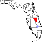 A state map highlighting Osceola County in the middle part of the state. It is large in size.