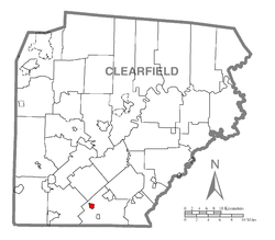 Location of Irvona in Clearfield County