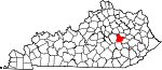 State map highlighting Estill County