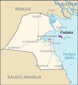 Map of Kuwait Failaka (lithuanian).png