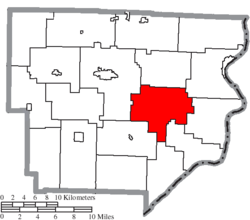 Location of Green Township in Monroe County