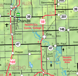 KDOT map of Neosho County (legend)