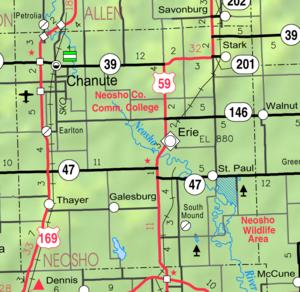Neosho County, Kansas - Image: Map of Neosho Co, Ks, USA