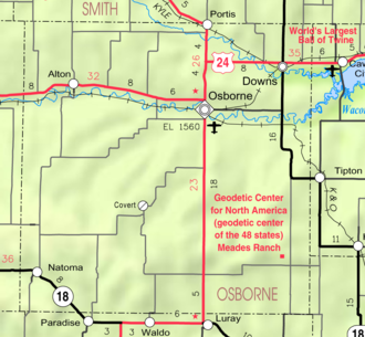 Osborne County, Kansas - Image: Map of Osborne Co, Ks, USA