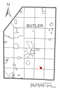 Map of Saxonburg, Butler County, Pennsylvania Highlighted.png