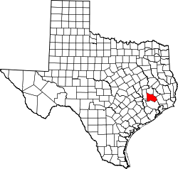 map of Texas highlighting Montgomery County