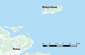 Pictou Island (Nova Scotia) - Map showing Location of Pictou Island compared to the Town of Pictou