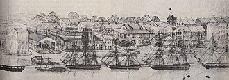 Pontchartrain Railroad - This 1836 sketch by G. W. Sully shows the riverfront terminal of the Pontchartrain Rail-Road on the left, at the head of Elysian Fields Avenue.
