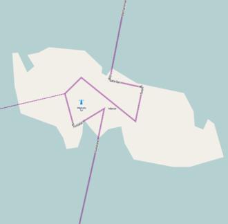 Märket - Märket Island with the national border and the county border