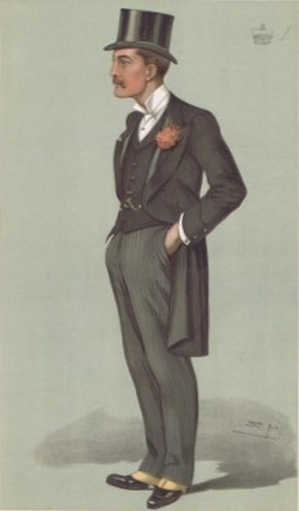 """Thomas Thynne, 5th Marquess of Bath - """"Frome"""". Lord Bath as caricatured by Spy (Leslie Ward) in Vanity Fair, April 1896."""