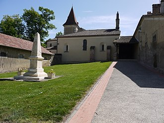 Marsan - The church and the war memorial.