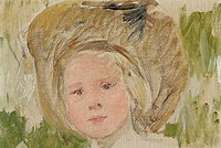 Mary Stevenson Cassatt, Sketch of Head of a Girl in a Hat with a Black Rosette oil on canvas laid down on board, 24.8 x 32.4 cm, circa 1910, Christie's.jpg