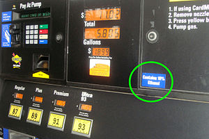 Ethanol fuel in the United States - Most of the ethanol consumed in the US is in the form of low blends with gasoline up to 10%. Shown a fuel pump in Maryland selling mandatory E10.
