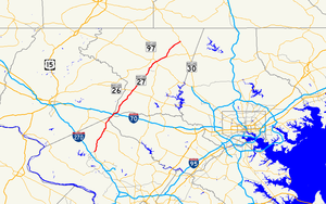 Maryland Route 27 - Image: Maryland Route 27 map