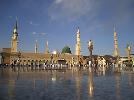 The Mosque of the Prophet in Medina containing the tomb of Muhammad MasjidNabawi.jpg