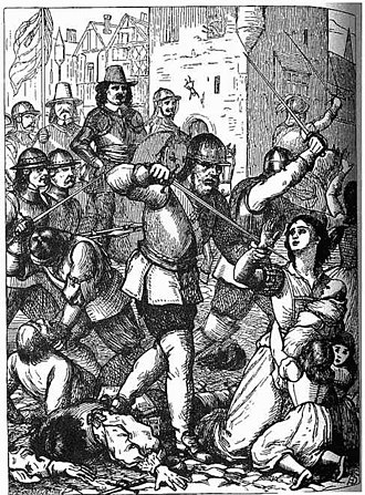 Siege of Drogheda - A 19th-century representation of the massacre at Drogheda, 1649