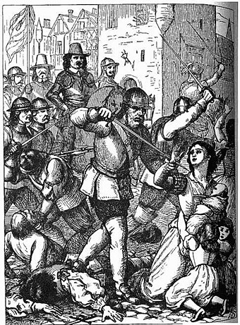 A 19th century representation of the Massacre at Drogheda, 1649 Massacre at Drogheda.jpeg