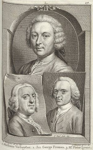 Jan George Freezen - Portrait of Freezen (bottom left) and his fellow painters from The Hague, Mattheus Verheyden (top) and Pierre Lyonnet (bottom right), from Jan van Gool's Nieuw Schouburg from 1751