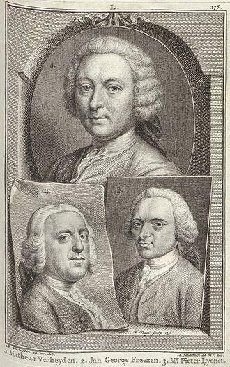 Jan George Freezen - Portrait of Freezen (bottom left) and his fellow painters from The Hague, Mattheus Verheyden (top) and Pierre Lyonnet (bottom right), from Jan van Gool's Nieuw Schouburg from 1751