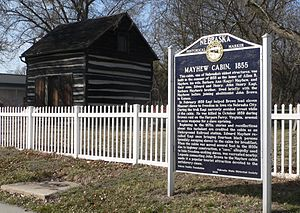 Nebraska City, Nebraska - Mayhew Cabin and marker