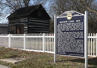 Nebraska City, Nebraska - Mayhew Cabin and marker