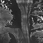 McCarty Glacier, junction of tidewater glacier, mountain glaciers with icefall, and hanging glaciers, August 27, 1963 (GLACIERS 6616).jpg
