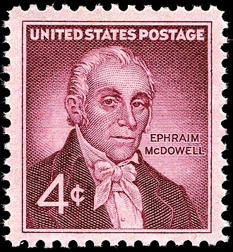 Ephraim McDowell - Commemorative stamp honoring Ephraim McDowell, issued December 30, 1959, the 150th anniversary of successful ovarian operation