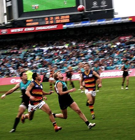 An AFL match between the Port Adelaide Power and the Adelaide Crows McLeodMarkcrop.jpg