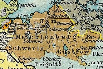 Mecklenburg-Güstrow - Mecklenburg circa 1648, showing the division between Mecklenburg-Schwerin and Mecklenburg-Güstrow