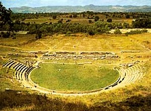 Megalopolis 370 BCE theater and plain.jpg