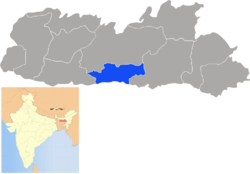 Location of South West Khasi Hills district in Meghalaya