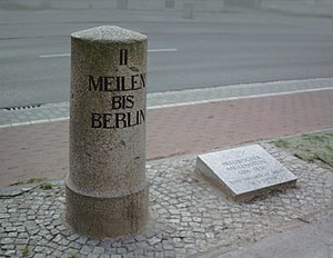 "Direction, position, or indication sign - A Prussian milestone c. 1836, reading ""II MEILEN BIS BERLIN"" (""two miles to Berlin"")."