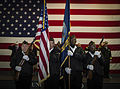 Members with the Veterans of Foreign Wars South Carolina color guard present flags during a Pearl Harbor 71st anniversary memorial service aboard the aircraft carrier USS Yorktown (CV 10) at Patriots Point Naval 121207-F-ER496-006.jpg