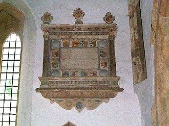 Burton Dassett - The memorial to John Temple and his children in Burton Dassett church